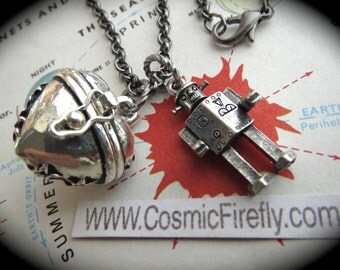Steampunk Necklace Tin Man Robot Necklace Puffed Heart Locket Robot Jewelry Antiqued Silver Plated Costume Fashion Jewelry