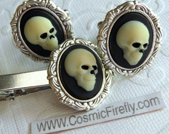 Skull Cufflinks & Skull Tie Clip Men's Cufflinks Gothic Victorian Steampunk Cufflinks Pirate Cufflinks Set Of 3