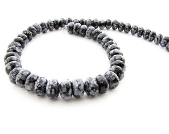 Snowflake Obsidian Faceted Gemstone Chakra Black Gray 20 Beads Obsidian Necklace  Earring  Jewelry Supply Beading Supply Gemstones #153