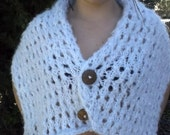 Light Sky Blue with White soft and warm Shoulder Wrap/Shawl in open eyelets with Coconut Wood Accent Buttons