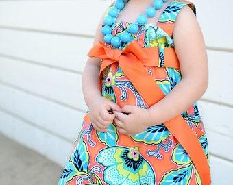 Zadee Dress... Mandarin floral fabric by Amy Butler....Girls Jumper
