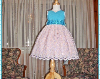 Tiffany's Sparkling Topaz Ensemble Crochet Children Dress Digital e Pattern  (girl size 1, 2, 4, 6) 012P-SM
