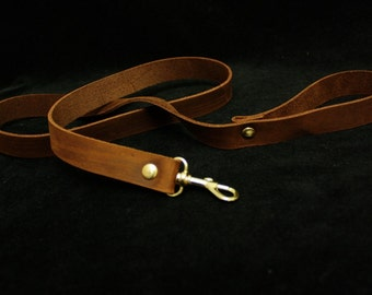 Steampunk Leather Leash, Caramel Brown, Charcoal or Black, Shiny or Antique Brass or silver,  pet kitten Sub Fetish restraint BDSM