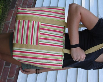 Pink and Green Stripe Janie Tote