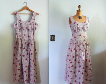 SALE! vintage 1940s Dress  // Bow Print Seersucker Dress