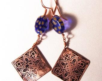 Etched Copper Earrings Art Deco Earrings