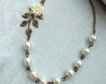 Small Creamy Ivory Dahlia Mum Flower, Brass Leaf, Ivory Pearls Necklace. Bridesmaids Gifts.  Vintage Cottage Themed Wedding. Ivory Wedding.