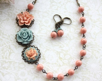 Necklace and Earring Set. Pink, Blue, Salmon Peach Pearls, Multi Flower Necklace. Vintage Style. Bridesmaid Gifts. Maid of Honor.