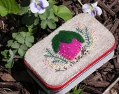 Felt Strawberry Needle box/Sewing tin