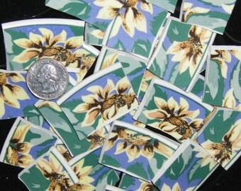 Mosaic Tiles - Sue Zipkin CAROLINE Pattern, Large Tiles, Sunflower Floral Chintz, Broken China - FREE Shipping - ALLBellaJewels