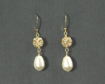 Bridal Drop Earrings, Gold Bridal Earrings, Pearl Dangle Earrings, Crystal Rhinestone Bridesmaid Jewelry -- PORTIA