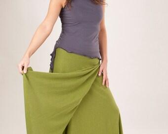 organic denim wrap skirt hemp and organic cotton