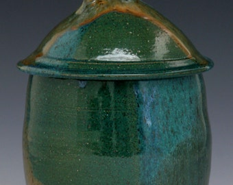 Lidded Jar in Three Glaze Combo