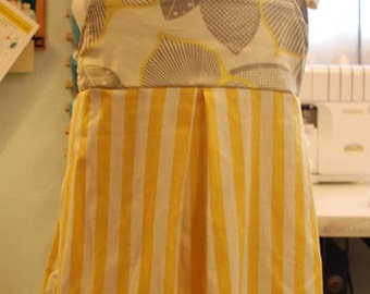 2T dress - amy butler grey floral print with yellow striped bottom