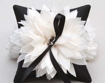 Black ring pillow, black and white wedding, flower ring pillow, wedding decor - Lydia