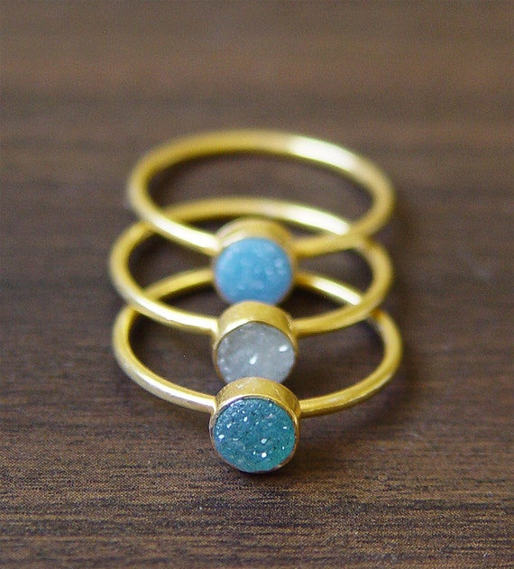 Teal druzy Ring - 14k Gold Fill