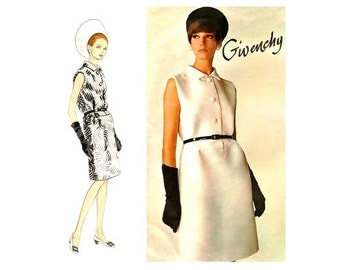 60s Givenchy Dress Pattern Vintage Vogue Paris Original 1700, One Piece Sleeveless Fitted Dress, Button Front, Bust 34, Classic Couture