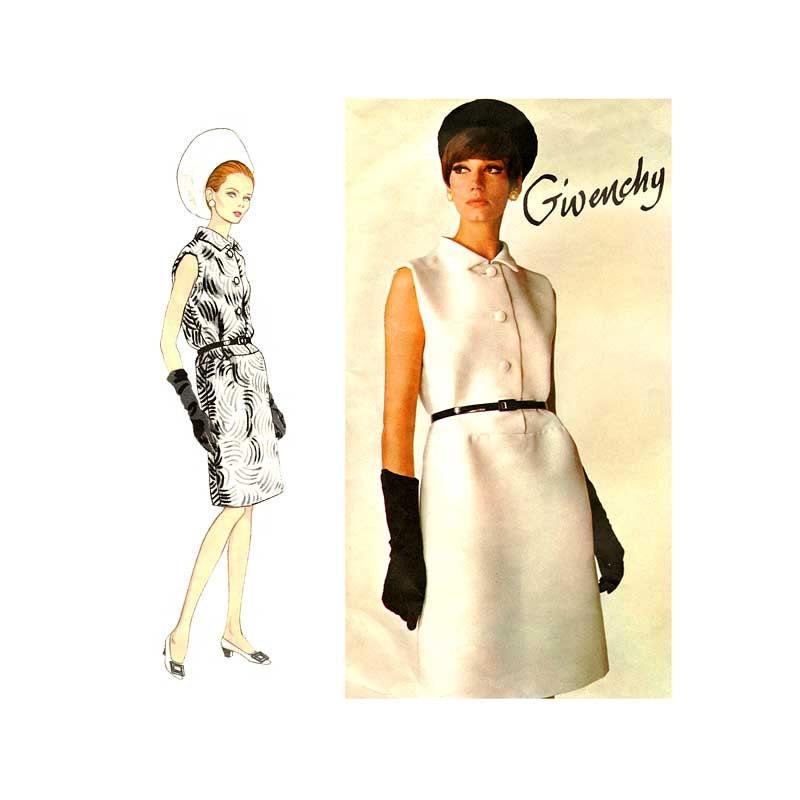 60s Givenchy Dress Pattern Vintage Vogue Paris Original 1700
