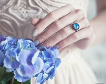 Blue flower ring - Silver dainty ring - Blue ring - Blue dainty ring - Blue flower jewelry - Hydrangea jewelry - Adjustable ring (R061)