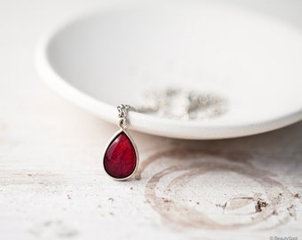 Red rose necklace - Silver Teardrop necklace - Red Teardrop necklace - Ruby red silver necklace - Red necklace - Bloom by BeautySpot (N098)
