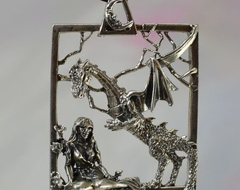 Fantasy Dragon and Goddess Pendant with Moon Bail in Sterling Silver