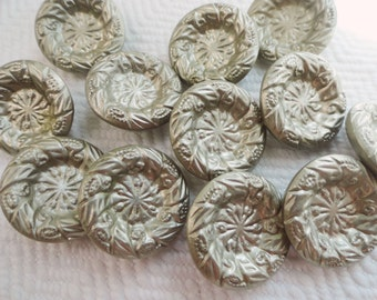 Silver Metal Vintage Buttons - 6 Industrial Blazer Buttons in YOUR CHOICE of Sizes 3/4 or 1 1/8 inch