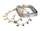 Set Gold and Silver Stars Chains Bracelet. Wedding bracelet. Milky Way. Bridesmaid jewelry