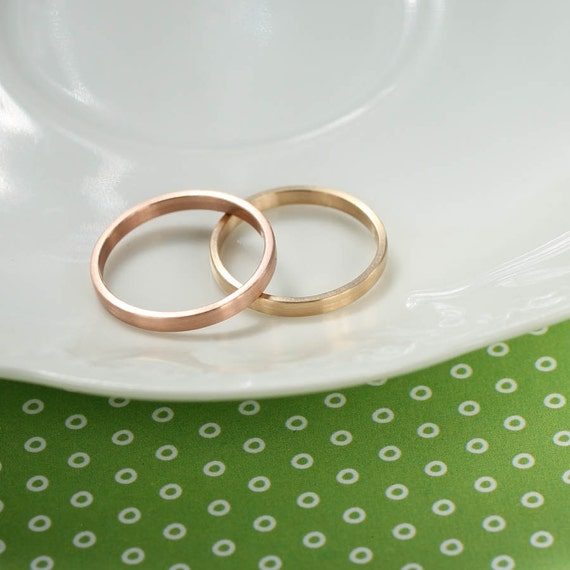Hers And Hers Wedding Band Set 2x1mm Bespoke By AideMemoire
