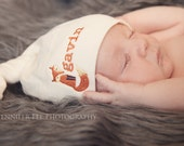 SALE - Organic Cotton Baby Knot Hat - Personalized Fox Design