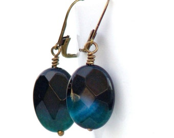 Stone Earrings Teal Crackle Agate - Faceted Dangle Leverback