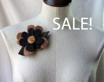 Brooch - Two Tone Brown Flower - Recycled Wool Sweater - by FeltSassy