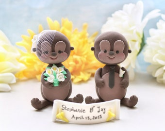 Wedding cake toppers Monkeys - unique cute custom personalized figurine funny brown tan wild woodland zoo safari bride groom names initials