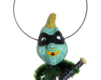 "Mixed Media Sculpture Inspired by Antique German Hallowe'en Folk Art Toys - ""Lester"""