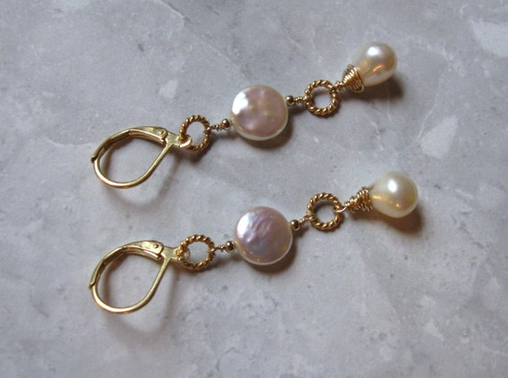 Freshwater Pearl Earrings Gold Filled Wire Wrapped by AListDesigns