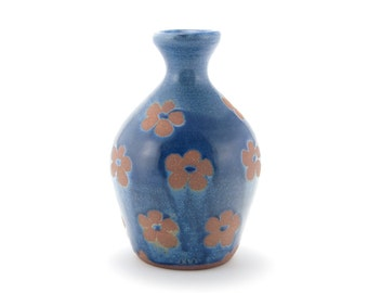 Large sake bottle, vase, (blue with floral motitf), rustic modern stoneware pottery