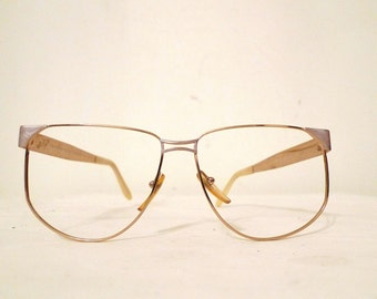 Big Pierre Cardin Aviator Frame Italy Eyeglasses Never Used NOS Mod Designer Vintage Eyewear Sunglasses Golden Metal+Pearly Arms