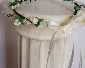 Bridal Hair Wreath, Wedding flower crown, ivory silk rosettes Woodland cottage chic lace tie floral circlet flower girl halo vine hairwreath