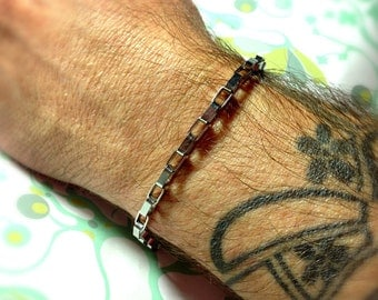 MAN UP - Boxy, stainless steel mens bracelet