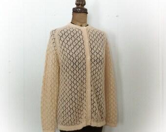 Vintage 1970s Cardigan Nude Knit