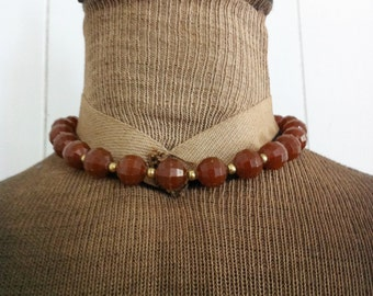 Vintage Brown Plastic Choker Necklace Faceted Beads with Gold Tone Spacer Beads