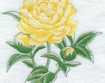 Peony Beauty Embroidered Terry Kitchen Towel Bathroom Hand Towel