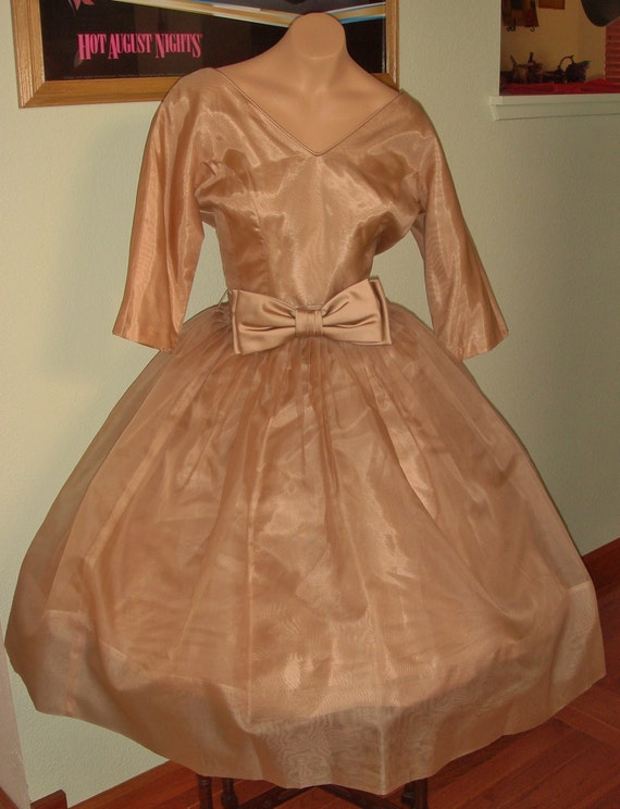 Romantic 50s Yummy Milk Chocolate Organza Prom Dress Sweetheart Neckline B36 W28