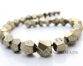 SALE 50% OFF - Pyrite Graduated Semi Faceted Nugget Beads 8X8mm-16X16mm