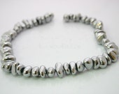 SALE 30% - Chrome Silver Color Quartz  Smooth Nugget beads 13x9mm 15 inch strand