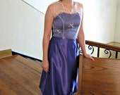 Vintage Inspired Party Dress, Modest Prom Dress, Short Prom Dress, Sweetheart Dress w/ V neck Overlay - CUSTOM MADE in any fabric