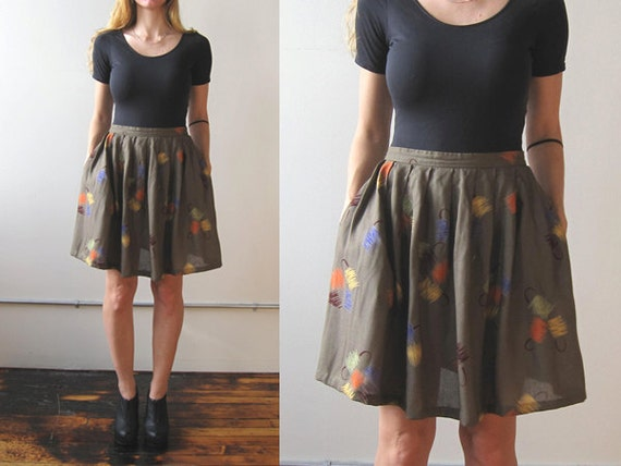 Items similar to Vintage high waisted circle skirt / olive green ...