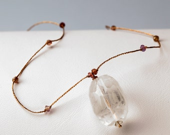 Faceted Peach Quartz Choker with Colorful Sapphire Chips