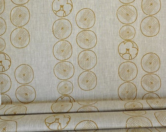 Linen by the yard - Mustard garden hand printed by celina mancurti - Free Shipping to USA