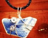 Irish Beach Pottery - Wire Wrapped Pendant - Blue & White