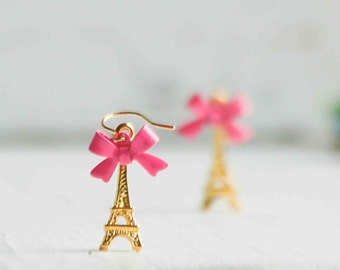 Eiffel Tower Earrings Paris Love PINK Bows Gold